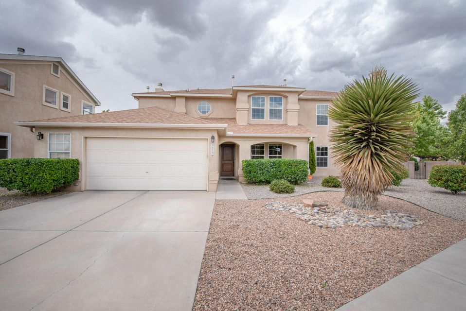 Beautifully maintained spacious home on quiet cul-de-sac in Ventana Ranch.  Freshly updated Cook's kitchen, granite countertops, Wood cabinets, S/S Appliances. Semi custom home features 2 living areas, cathedral ceilings, wood floors, Fireplace, dry bar, Oversized loft/ great for a teen bdrm, ceiling fans, Refrigerated Air! 3 good size bedrooms, Generous storage throughout . Low maintenance yards with bubble drips front and back. Solar panels are leased and Owned by Vivint and they are responsible for maintaining the panels.  Close to Excellent public schools, CNM, restaurants. Make this one your forever home.