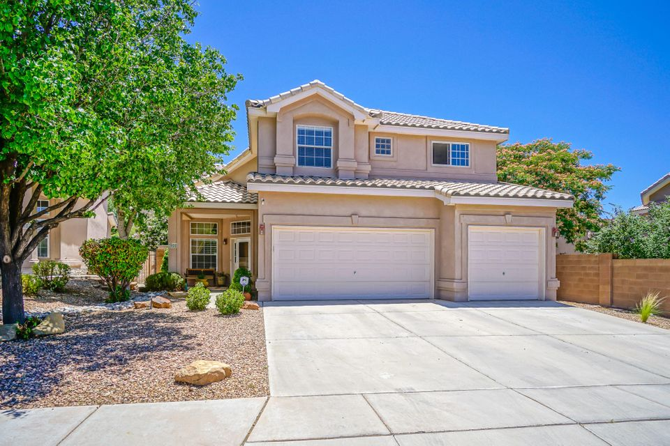 Fantastic Kim Brooks Home in the lovely Trails of Desert Ridge subdivision.  The HUGE Kitchen is an entertainer's dream with  custom cabinets, updated stainless steel appliances, granite countertops, wine fridge, and much more. The four bedrooms and loft are generous in size.  Laundry room is conveniently located upstairs! This home has all new flooring and paint as of 2018.  Water softening system, alarm/video surveillance system, wired for surround sound.  The back yard has mountain views, a rock water feature, Gazebo, and a private heated gunite pool with automatic cover.Close proximity to the neighborhood park. La Cueva High School as well as Desert Ridge Middle School, and North Star Elementary. An incredible must see home.