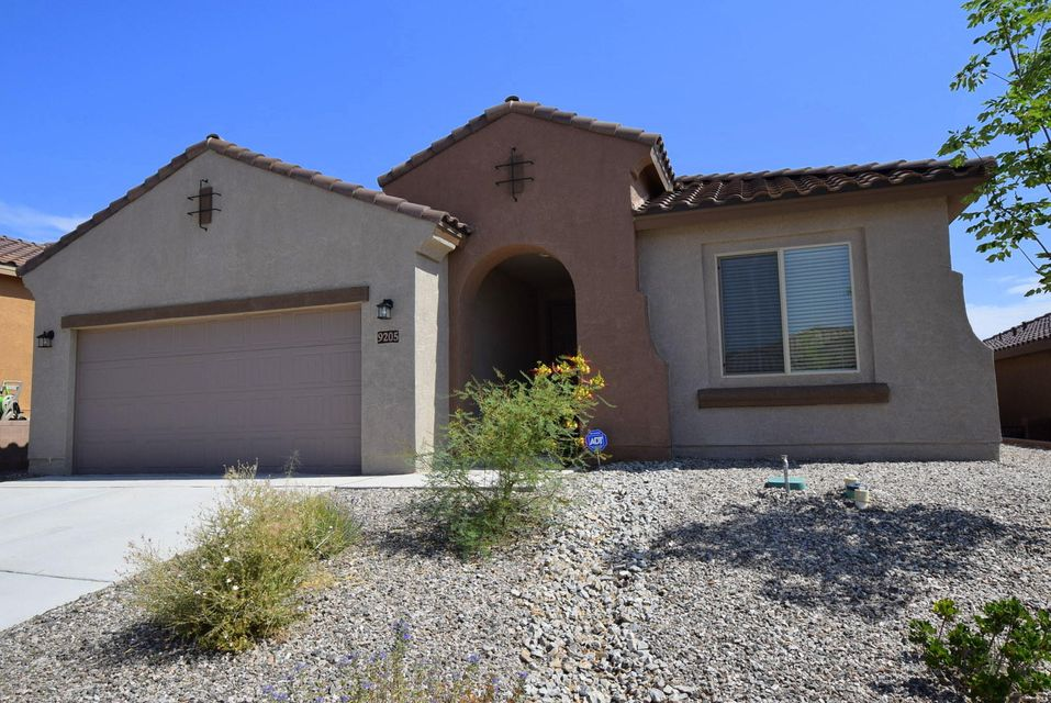 NEW PRICE!  Open Sun 1 to 3 pm.  THE MOST AFFORDABLE HOME IN UPSCALE VISTA VALLE  @ MIREHAVEN.   Why wait 6+ mos for a new build?  This  sharp, like new 1-story is priced well below $ per s/f  of new Pulte 1-story homes.  Relaxed & informal lifestyle.  Open plan, with great room, kitchen, & dining nook grouped together.   Ideal plan for  entertaining family & friends.  Kitchen features Granite counters, lots of cabinets & pantry.   Large separated MBR.   9' ceilings help this home feel larger.  NOTE TANDEM 3rd GAR BAY.   Covered back patio & low maint grounds.  Lovely CITY/MTN VIEW. Convenient to K thru 8 school, dog park, eateries, sports complex, & area shops.   Easy access to I-40.   QUALIFIED VET CAN ASSUME 3.5% VA LOAN and have pmt under $1500..  Ask about buyer C/Cost assistance.