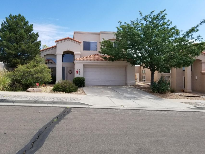 Beautiful home that has bright open floor plan with high ceilings. Travertine tile in kitchen/breakfast bar that opens into the family room with the fireplace. Master bedroom  on main floor, walk in closet, and master bath with garden tub/separate shower. Other 2 bedrooms upstairs. Low maintenance yards. storage shed.CLICK on photos, click virtual tour, like a 24 hour open house, interactive