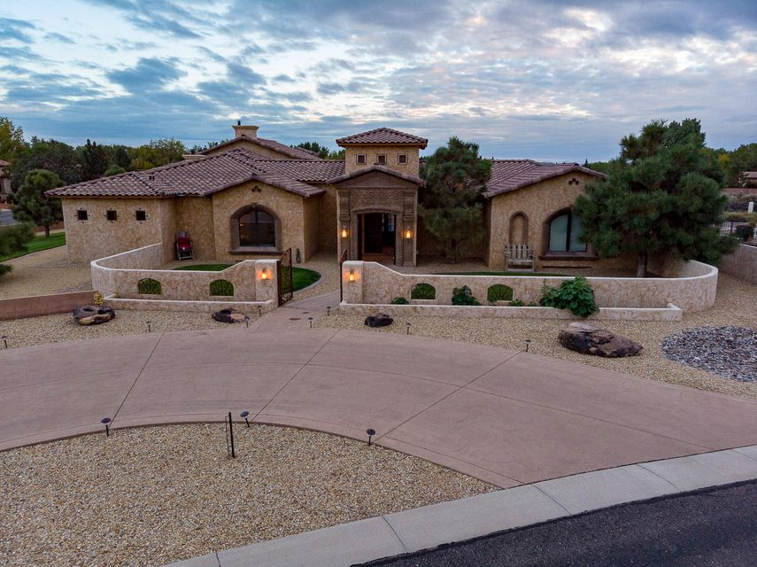 Built by Earth Stone Customs Homes and designed by Ron Montoya Designs, these two, combined with the exquisite taste of the owner, bring together this spectacular one single-story Tuscan home with rustic accents situated on a 1.02 acre corner lot in the prestigious upscale Black Farm Estates. Built around a central gunite pool and spa, surrounded by large patios with tongue and grove pine ceilings, is just perfect for large-scale entertaining with outdoor kitchen. Be amazed with this gorgeous home's details: handcrafted cantera work throughout the house, stunning barrel rolled brick ceilings, 2 large snail showers with a fantastic title work, theater room, custom textured walls and suede paint throughout, custom double-wood entry doors,