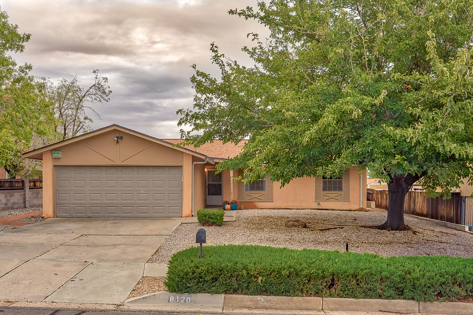Fresh single story home in the La Cueva School District NE Heights neighborhood. Features open floor plan with new roof in 2017,  newly patched & painted Stucco, newly painted kitchen & bathroom cabinets, stainless steel dishwasher & gas range, and new carpet! Metal shed in backyard conveys. Great house, great location!Open House Saturday 1-3 PM.