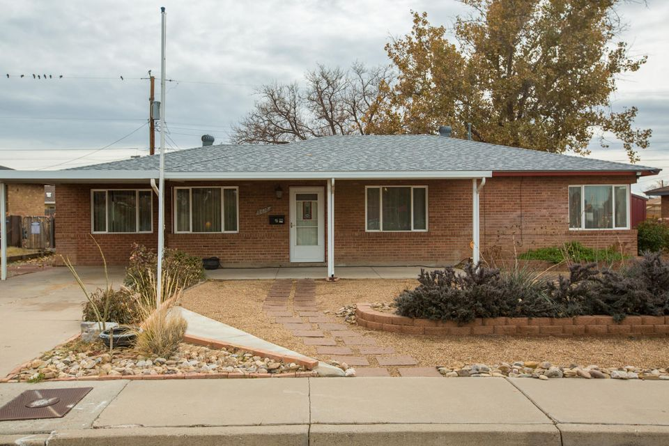Charming Brick Single Story Home in desirable Area. New Roof, Newer windows, New carpet in two bedrooms. Laminate Flooring in the Living Room. Refrigerated AC.  Carport plus a driveway for an RV parking. Close to shopping, uptown, fwys, schools, and parks. Home does have a new solar system that is leased. Appliances stay!  A great Place to call Home!