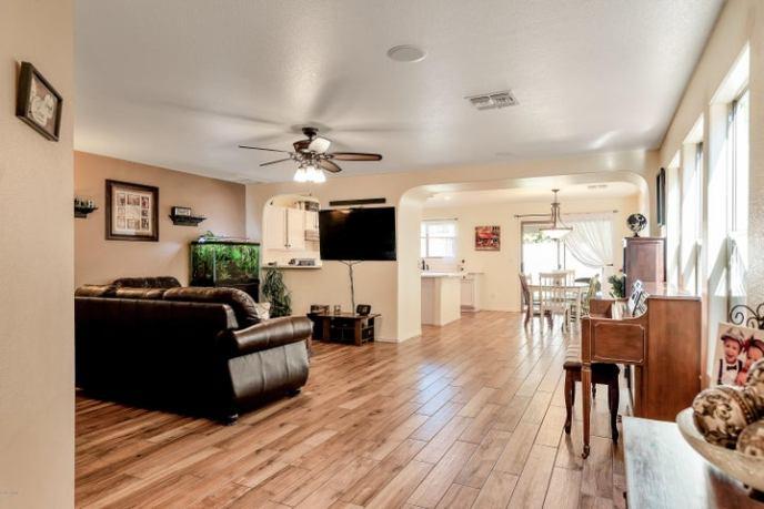 Classic modern look. Exquisite hardwood plank tile flooring.