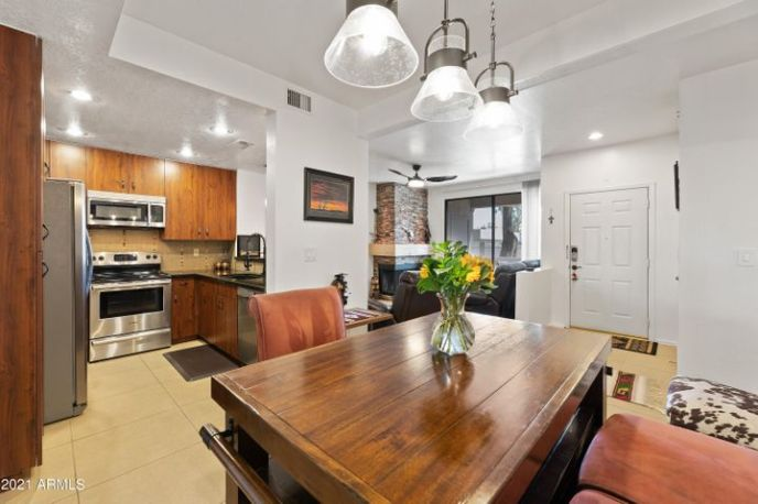 Dining space conveniently located off of the kitchen