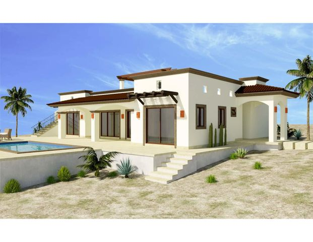 Casa Tecolote is one of 6 models to be built in the new, master-planned community of Villas del Centenario, Casa Tecolote is a 3BR/2BA home with 180m2/1,937ft2 of interior living space opening onto a large 54m2/580ft2 covered patio with tiled roof. The stone front entry welcomes visitors into an open living/kitchen/dining area featuring 10' ceilings, a large built-in pantry, and dual sliding glass doors that open onto the terrace. Custom-built hardwood cabinetry, oversized tile, granite countertops and stainless appliances are included. The master suite has dual vanities in the bath, marble tiled shower and walk-in closets. The house also includes 2 guest BRs, a guest bath, laundry, and A/C units and ceiling fans in every room. Optional upgrades include a pool, spa, garage or garage/casita Villas del Centenario is a private, gated community of homes located in the hills of El Centenario overlooking the Sea of Cortez with stunning ocean views. Construction is scheduled to begin in summer 2021. Now taking lot reservations with 50% deposit on lot premiums ranging from $39,900 - $79,900.  The price listed is the base price of the home plus a $39,900 lot premium. Other lots may increase the base price of the home, and some lots may require additional cost for retaining walls. The price does not include other options or upgrades.  The first homes to be built are expected to break ground in summer 2021 (Phase I and II only), with completion averaging 9 months later. Please consult the listing agency for the full lot price list.