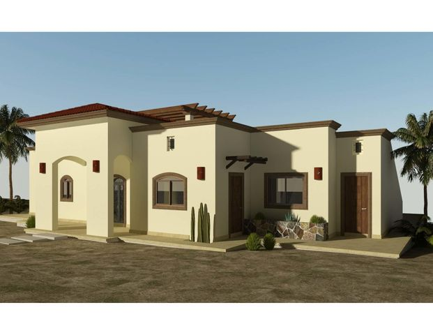 Casa Mogote is the largest of 6 models to be built in the new, master-planned community of Villas del Centenario, Casa Mogote is a 3BR/2.5BA home with 200m2/2,153ft2 of interior living space opening onto a huge 85m2/915ft2 covered entertaining area with tiled roof. The massive stone front entry welcomes visitors into an open living/kitchen/dining area featuring 10' ceilings, a large built-in pantry, and dual sliding glass doors that open onto the patio. Custom-built hardwood cabinetry, oversized tile, granite countertops and stainless appliances are included. The master suite has dual vanities in the bath, marble tiled shower and walk-in closet. The house also includes 2 guest BRs, a guest bath, a large laundry, and A/C units and ceiling fans in every room. Villas del Centenario is a private, gated community of homes located in the hills of El Centenario overlooking the Sea of Cortez with stunning ocean views. Construction is scheduled to begin in summer 2021. Now taking lot reservations with 50% deposit on lot premiums ranging from $39,900 - $79,900.  The price listed is the base price of the home plus a $39,900 lot premium. Other lots may increase the base price of the home, and some lots may require additional cost for retaining walls. The price does not include other options or upgrades.  The first homes to be built are expected to break ground in summer 2021 (Phase I and II only), with completion averaging 9 months later. Please consult the listing agency for the full lot price list.