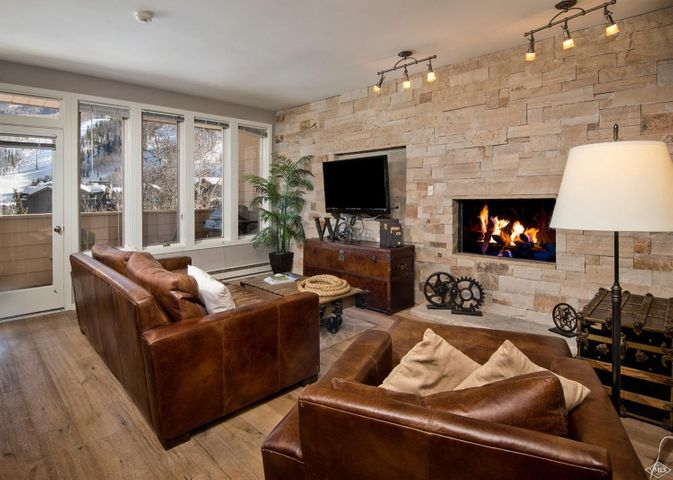 2bed 2bath Sun Vail condo with direct views of Vail Mountain. Easy walk to Village core and skiing via pedestrian bridge. Contemporary renovation. Hardwood & tile floors, gas fireplace. Amenities: year-round pool, 2 hot tubs, sauna & shower. 5 minute walk over to skiing. Great rental potential. Furnished