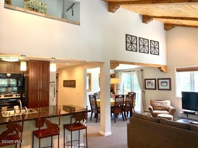 This beautifully remodeled top floor residence is flooded with sunlight and has views of the East Vail chutes from 3 separate decks on 2 floors. The designer decorated master suite is on the top floor and is a gorgeous sanctuary with a lofted area that is perfect for a home office or overflow guest sleeping. A short walk across Gore creek takes you to pet friendly Bighorn Park. Enjoy the complex pool and hot tub or take the bus into Vail Village where world class skiing, restaurants and shops await you.