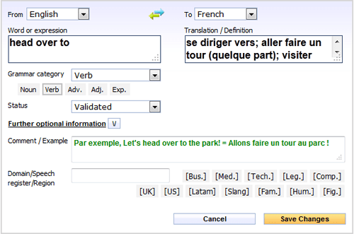 Translation, definition of words and phrases - guidelines | Reverso Collaborative Dictionary