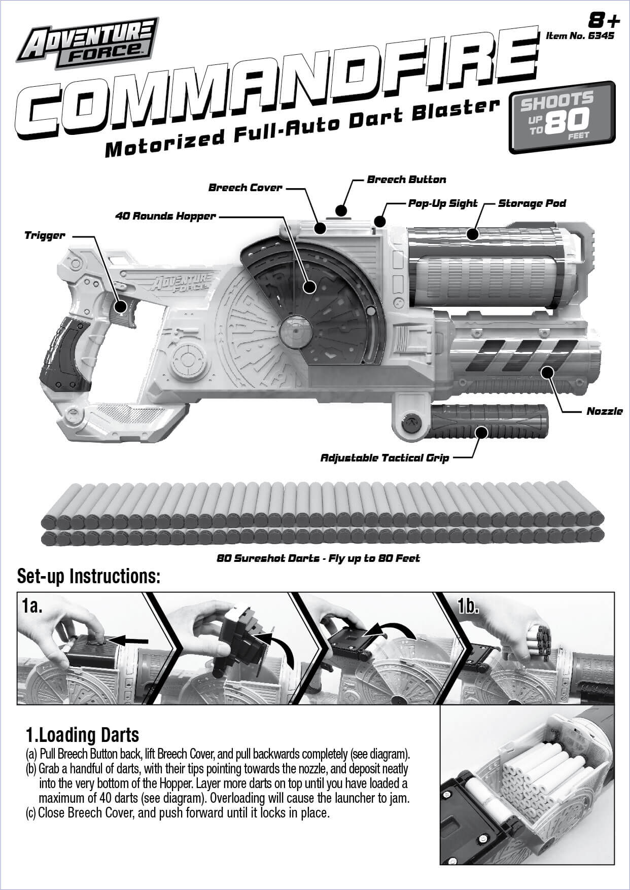 Adventure Force Commandfire Motorized Full-Auto Dart