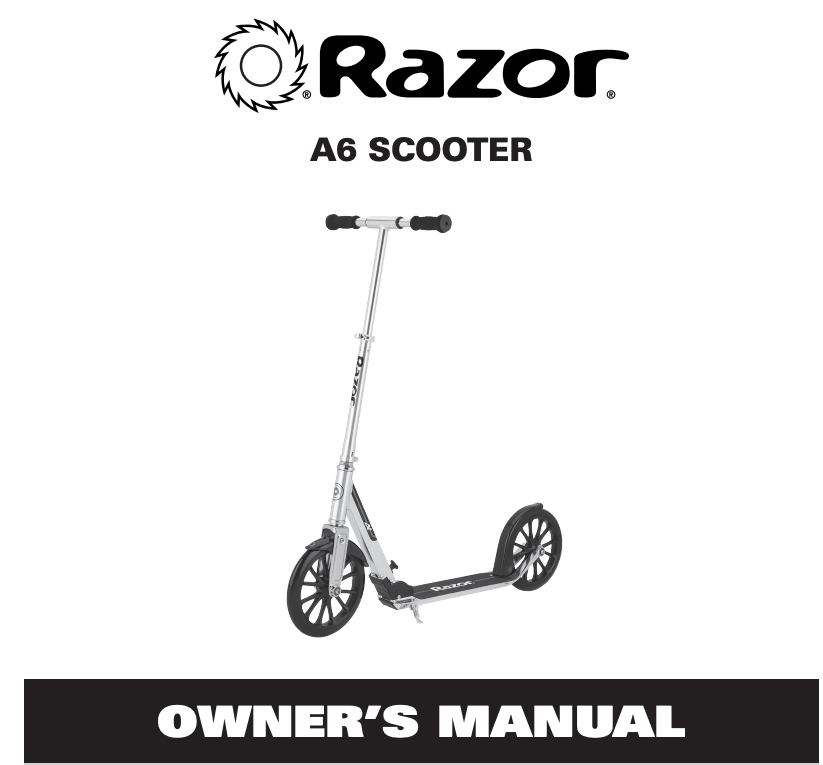 Razor A6 Kick Scooter with Durable Extra Large Wheels