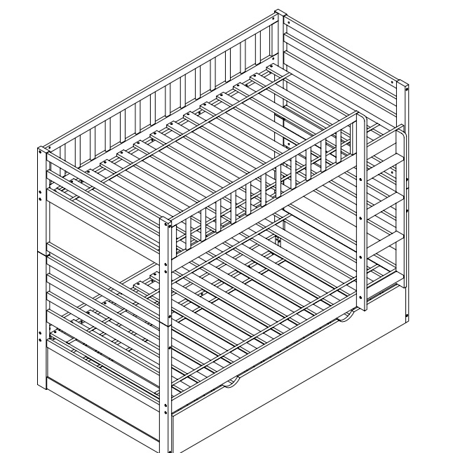 Merax Wood Bunk Bed, Twin Over Twin, Multiple Finishes