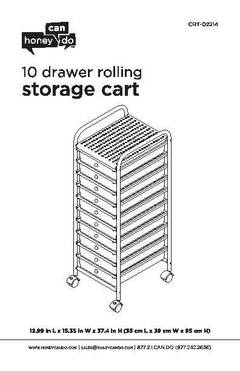 Honey Can Do Storage Cart with 10 Drawers and Rollers