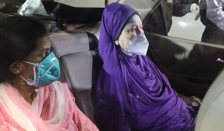 Khaleda Zia arrives in hospital to get Covid vaccine