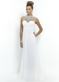 Blush 9952 - White Beaded Illusion Chiffon Prom Dress ...