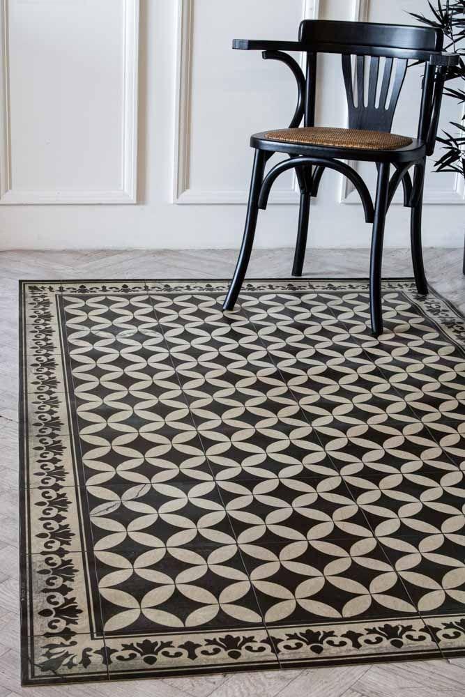 sofi antique vintage tile effect beija vinyl floor rug
