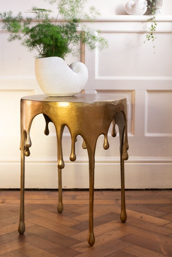 gold drip side table