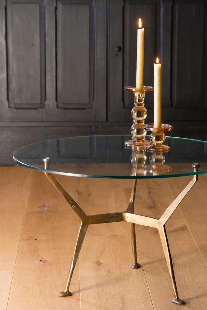 antique brass glass top round coffee table