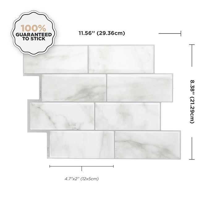 smart tiles adhesive wall tile 11 56 x 8 38 grey