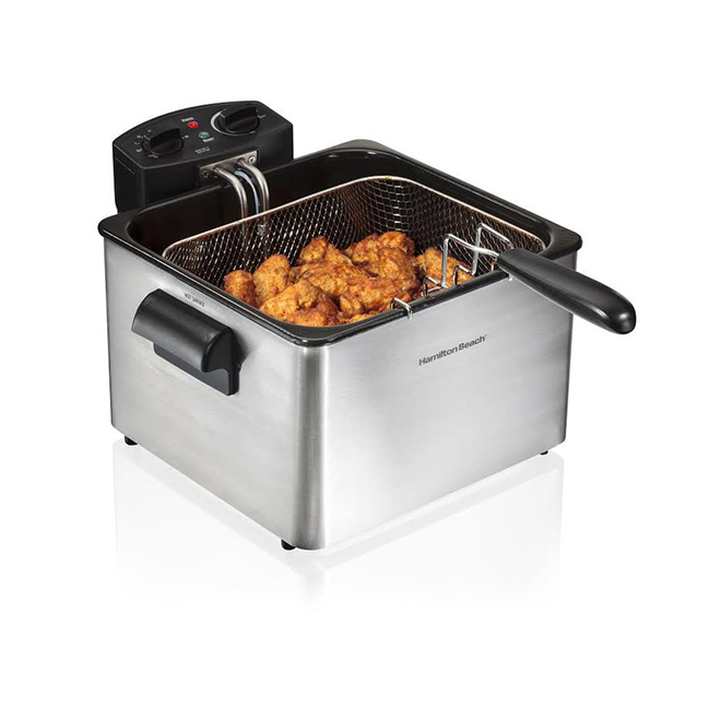 kitchen fryer desing double basket deep stainless steel 4 5 litres 35035c rona