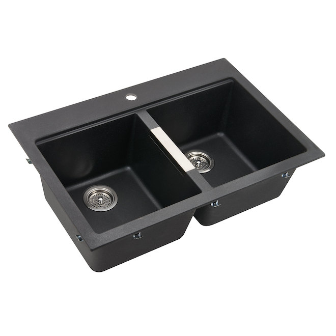 black sink kitchen ceiling lights odyssey composite granite double gs120bmn dy rona