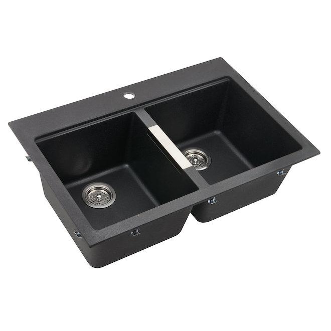 black sink kitchen cheap odyssey composite granite double gs120bmn dy rona