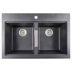 Black Sink Kitchen Base Cabinet Pull Outs Odyssey Composite Granite Double Gs120bmn Dy Rona