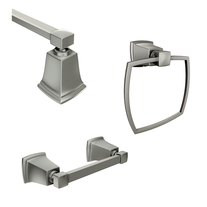Moen Bathroom Accessory 3 Piece Set Boardwalk Brushed Nickel Y3233bn Rona