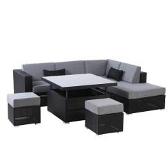 6pc Milan Modular Rattan Corner Sofa Set American Freight Sleeper Uberhaus Patio Sectional Seating Soho Grey Black 5 7 Places Rona