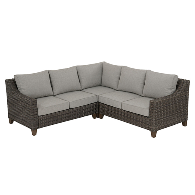 allen roth castlefield outdoor sectional 3 pieces brown