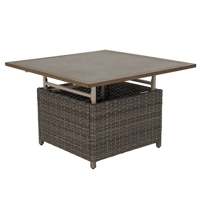 allen roth castlefield outdoor dinner table adjustable height grey