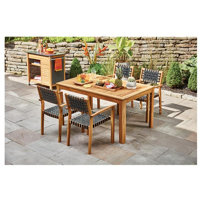 patio dining set sao paulo wood black 5 pieces