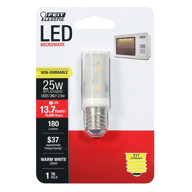 feit electric led bulb t8 microwave 2 5 w warm white