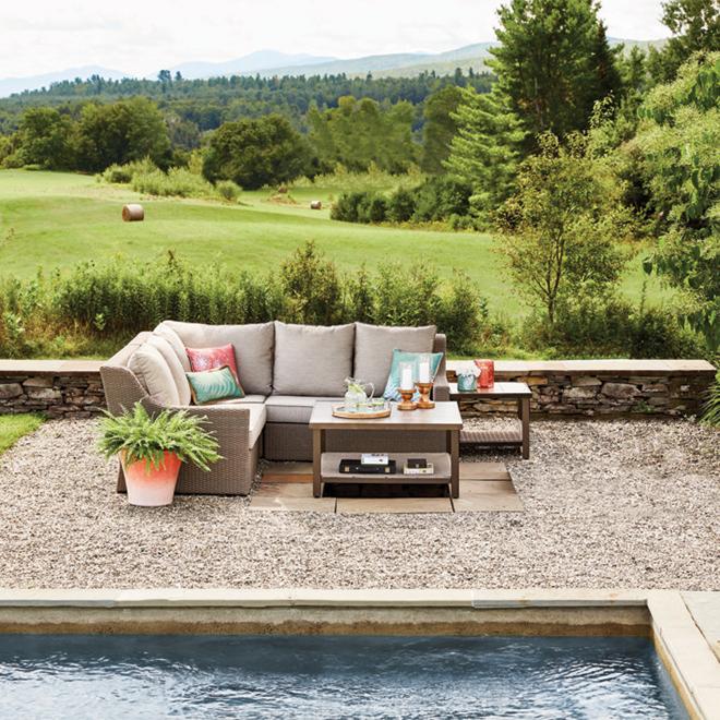 sofa de patio modulaire allen roth hawkesbury taupe et brun 5 places