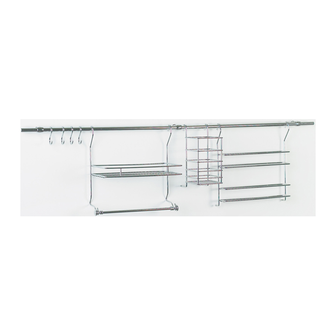 kitchen rail system stainless steel doors outdoor kitchens closetmaid chrome 305900 rona