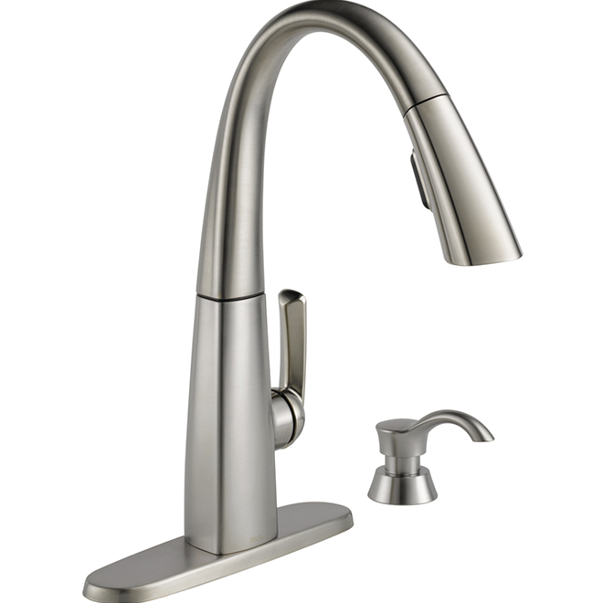 pull out kitchen faucets kart delta single handle down faucet stainless steel 19936