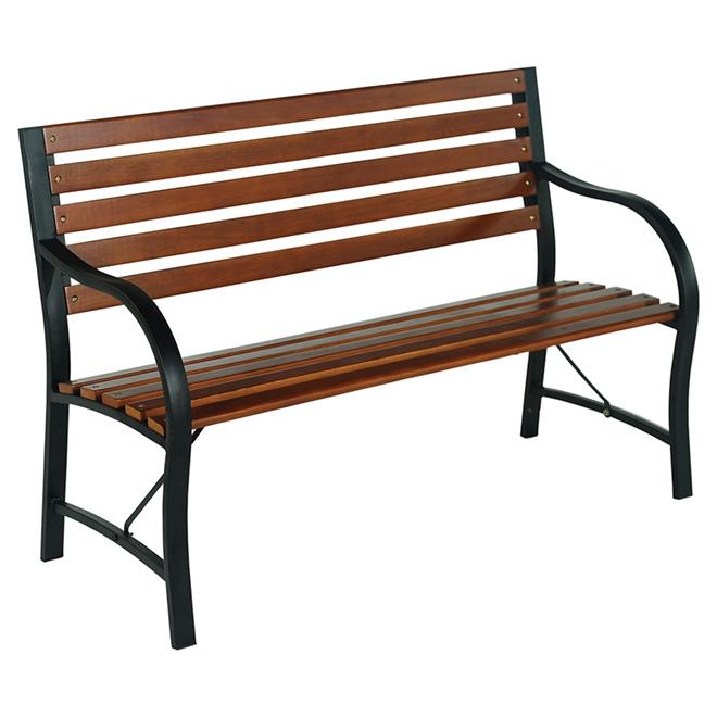 banc de parc exterieur style selections acier et bois 48 po brun et noir a206000700 rona