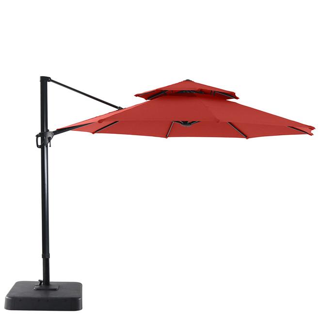 garden treasures offset patio umbrella tiltable 11 red