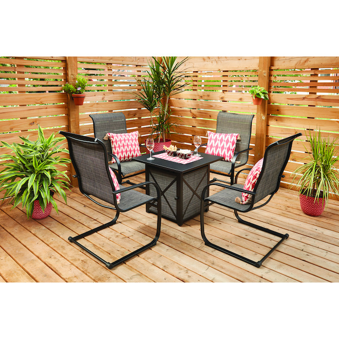 hartford 5 piece patio set with gas fire table c spring motion chairs black