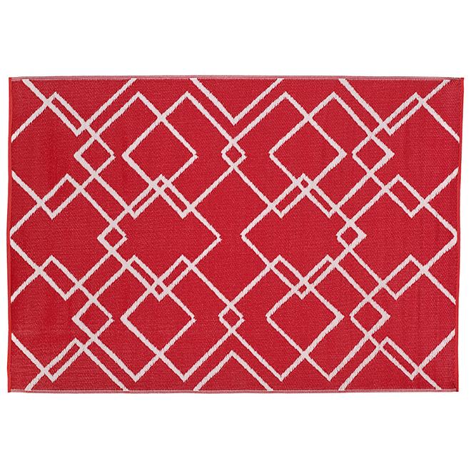 tapis d exterieur modele azufre geo 59 x 84 rouge
