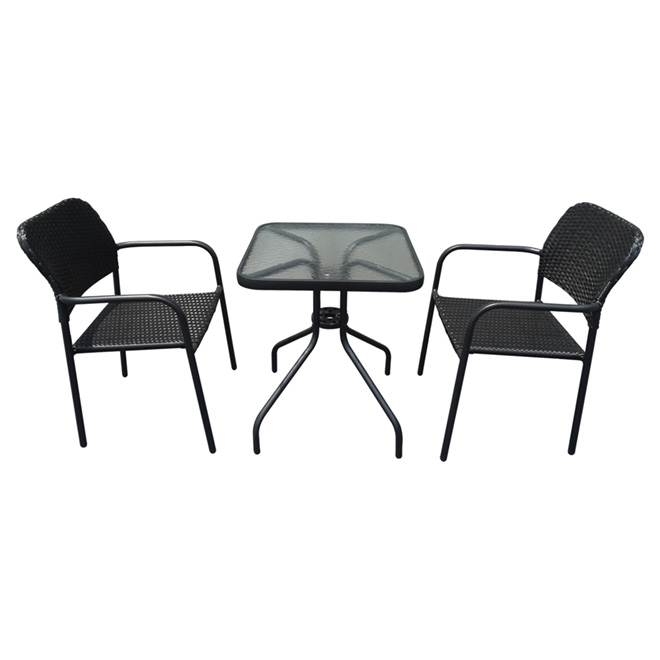 style selection bistro patio set steel and resin black 3 pieces