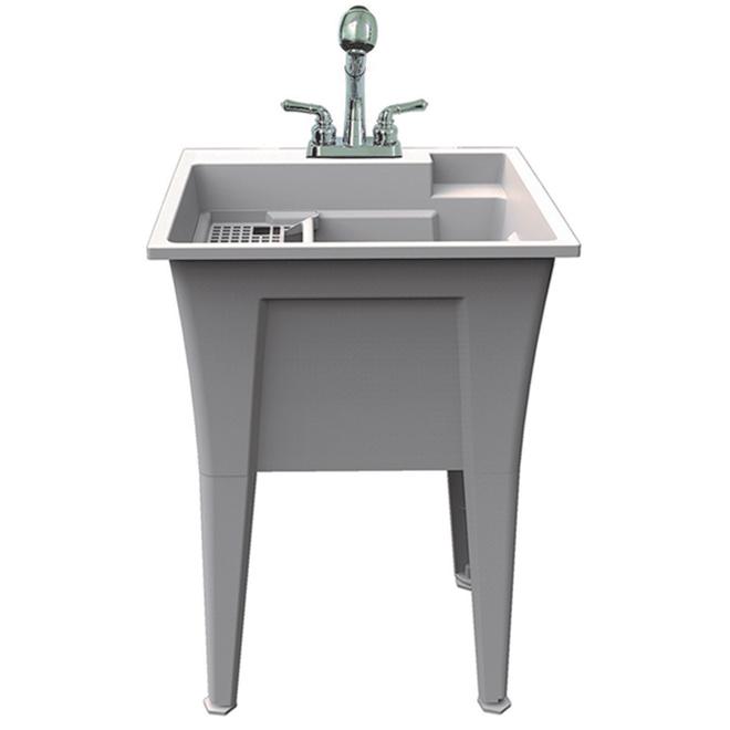 ruggedtub all in one laundry sink plastic 24 in x 22 in granite