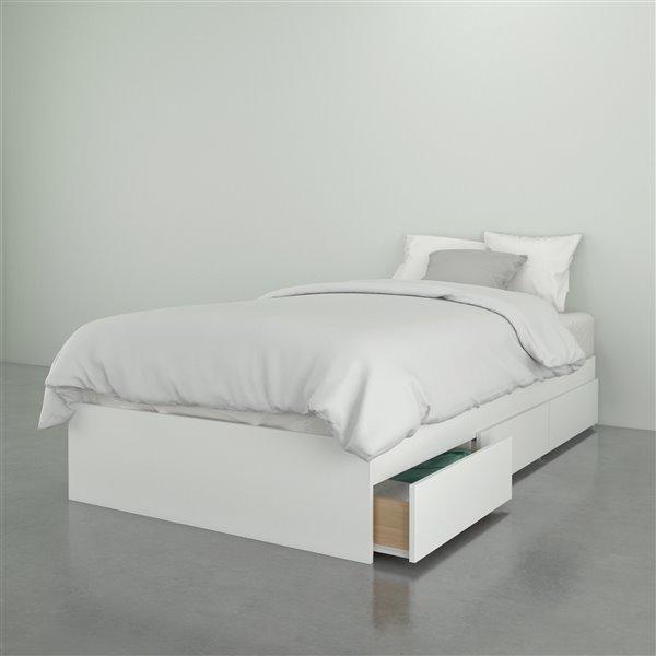lit simple nexera 3 tiroirs blanc