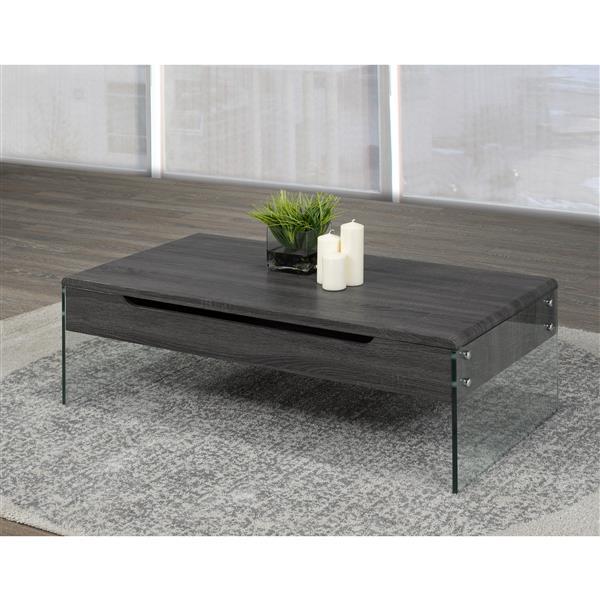 table basse avec rangement gris