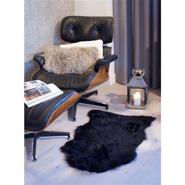 tapis gordon en fausse fourrure de mouton 2 x 3 noir