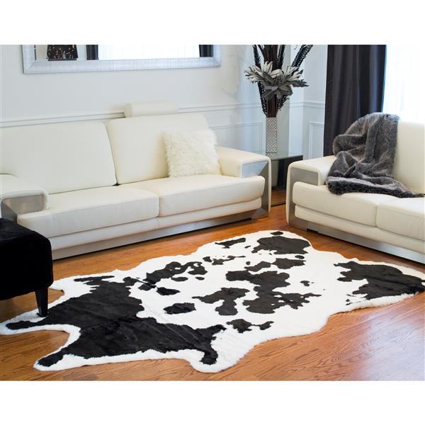 tapis en fausse en peau de vache 5 25 x 7 5 noir blanc