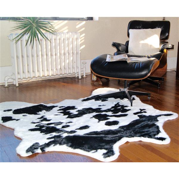 tapis en fausse en peau de vache 4 25 x 5 blanc noir