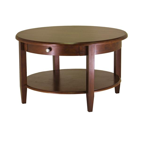 winsome wood concord 30 in x 18 in antique walnut round coffee table