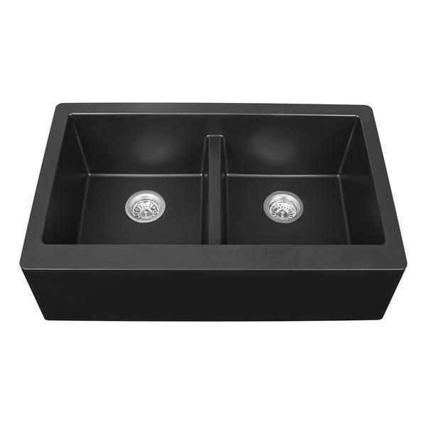 karran black quartz 34 in double apron front kitchen sink